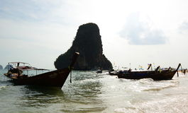 Long-tail boats. Railay beach. Krabi. Thailand Royalty Free Stock Photos