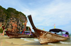 Long-tail boats. Railay beach. Krabi. Thailand Stock Photography