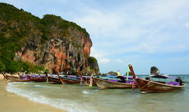 Long-tail boats. Railay beach. Krabi. Thailand Stock Images