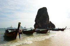 Long-tail boats. Railay beach. Krabi. Thailand Stock Photo