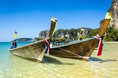 Long tail boats in Railay Beach, Thailand. Stock Image