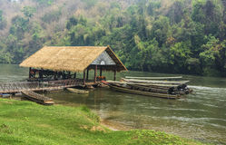 Long-tail boats in River Kwai Royalty Free Stock Photos