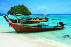 Long tail boats by the shore at Tup island Kra bi Andaman sea of Royalty Free Stock Images