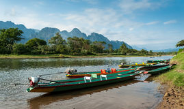 Long tail boats on Song river Royalty Free Stock Photography