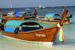 Long tail boats in Thailand Royalty Free Stock Photography
