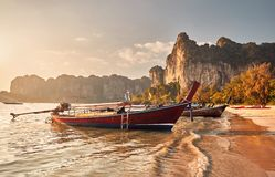 Long tail boats in Thailand stock photo