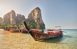 Long tail boats in Thailand stock photography