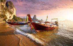 Long tail boats in Thailand Royalty Free Stock Image