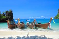 Long tail boats on tropical beach at koh Hong island, Andaman se Royalty Free Stock Photos