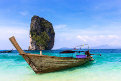 Long tail boats, Tropical paradise, Andaman Sea Royalty Free Stock Images