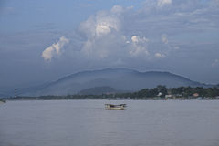 Long tail longtail boad in river in laos myanmar thailand. Border Royalty Free Stock Photo