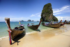Long tail Railay beach Krabi Thailand Stock Photos