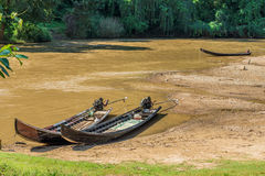 Long tail wooden motorboats in river Stock Photo