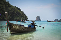 Long tailed boat on a beach. Long tailed boat at Phiphi island, Thailand Royalty Free Stock Photo