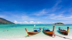 Long-tailed boat on Bundhaya beach Koh LIPE Stock Photos