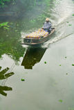 Long-tailed boat. The long-tailed boat at the floating market Thailand stock image