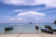 Long-tailed boat on Pattaya beach stock photography