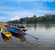 Long-tailed boat at Song River. Vang Vieng, Laos Royalty Free Stock Photography