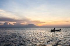 Long-tailed boat and sunset at sea, Koh Phangan,Surat Thani, tha Stock Photography