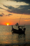 Long tailed boat at sunset Thailand Royalty Free Stock Photos