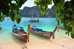 Long Tailed Boats Stock Photography
