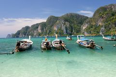 Long tailed boats at Phi Phi island in Thailand Stock Image