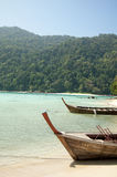 Long tailed boats at Surin island, Thailand Stock Images