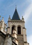Long tall catholic church steeple. France Royalty Free Stock Photo