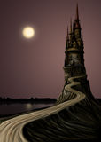 Long Tample. Night landscape. High Castle and the Moon, a lot of empty space for text Vector Illustration