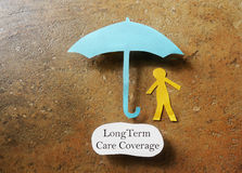 Long Term Care. Paper person under an umbrella with Long Term Care Coverage text -- elder care insurance concept Royalty Free Stock Photography