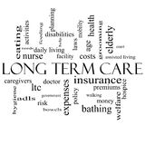 Long Term Care Word Cloud Concept in black and white. With great terms such as insurance, policy, costs, elderly, age and more Royalty Free Stock Photos