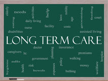 Long Term Care Word Cloud Concept on a Blackboard. With great terms such as insurance, policy, costs, elderly, age and more Stock Photography