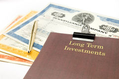 Long term investment portfolio. Of stock certificates Stock Photography