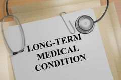 Long-Term Medical Condition concept. 3D illustration of LONG-TERM MEDICAL CONDITION title on a medical document royalty free illustration