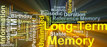 Long-term memory LTM background concept glowing Royalty Free Stock Photos