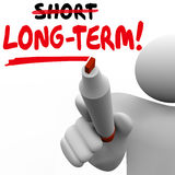 Long Term Word Vs Short Better Results Longer Later Investment M Stock Images