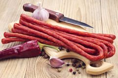 Long thin dry sausage Stock Photo