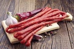Long thin dry sausage Royalty Free Stock Photo