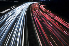 Long time exposure of traffic car lights royalty free stock images