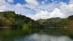 Balanan lake view time lapse. A long time lapse video showing the idyllic beauty of the mountain lake Balanan; Negros Oriental, Philippines. Shadows of the stock video footage