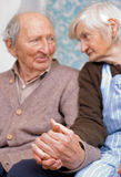 Long time together. Old happy grandparents staying together Stock Images
