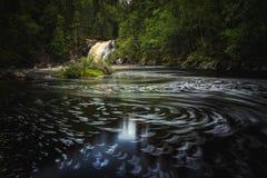 Long tir d'exposition de rivière débordante Homla et de cascades images stock