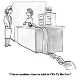 Long To Do List. Black and white business cartoon about a long to do list for IT Royalty Free Stock Images