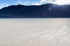 Long Traces of Moving Stones in Racetrack Playa Old Dried Lake i Stock Image