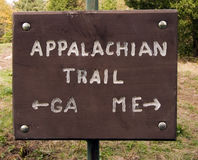 The Long Trail. Signpost on Appalachian Trail Royalty Free Stock Photos