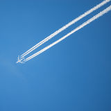 Long trail of jet plane. Stock Photo