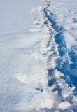 Long trail in snow Royalty Free Stock Photos
