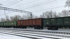 Long train in winter stock video footage
