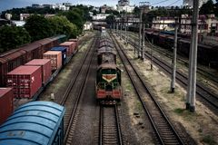 Long trains of freight cars. Long trains of freight cars and the locomotive Royalty Free Stock Images
