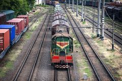 Long trains of freight cars. Long trains of freight cars and the locomotive Stock Photography